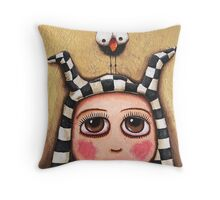 The Harlequin girl & crow Throw Pillow