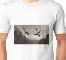Two dragons flying over the mountain Unisex T-Shirt