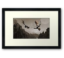 Two dragons flying over the mountain Framed Print