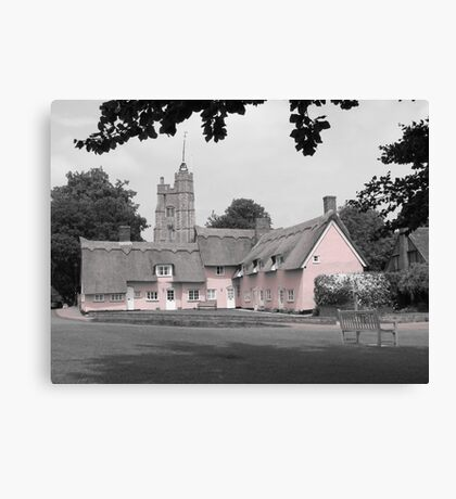 Pink Cottages, Cavendish, Suffolk Canvas Print