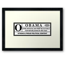obama warning label Framed Print