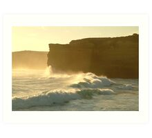 Joe Mortelliti Gallery - Sound and light show at Sherbrooke Beach, near Port Campbell and the Twelve Apostles, Great Ocean Road, Victoria, Australia. Art Print