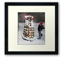 Doctor Who Dalek in Snowball Fight! Framed Print