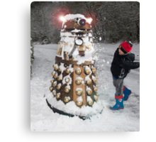 Doctor Who Dalek in Snowball Fight! Canvas Print