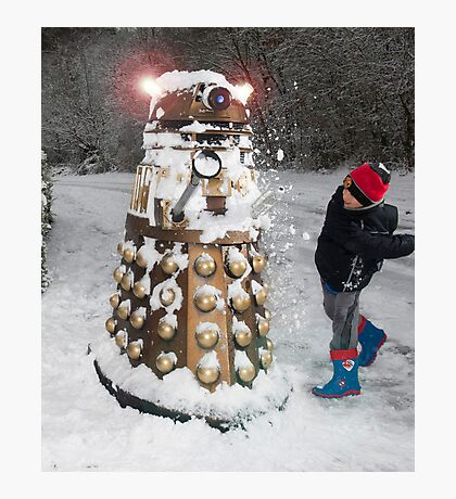 Doctor Who Dalek in Snowball Fight! Photographic Print