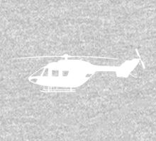 BK117 Helicopter Design in White on a T-Shirt by jnmvinylstudio