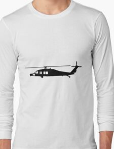 Blackhawk Helicopter Design in Black on a Sticker/T-Shirt v3 Long Sleeve T-Shirt