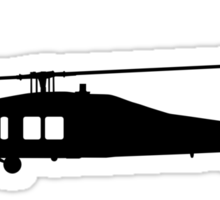 Blackhawk Helicopter Design in Black on a Sticker/T-Shirt v3 Sticker