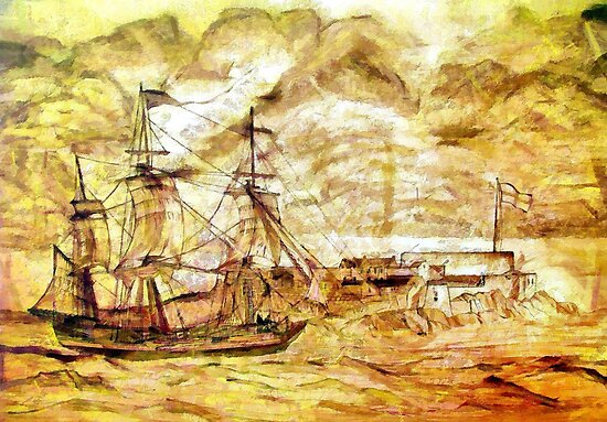 A digital painting of a 19th century Sailing Ship off Castle Cornet  by Dennis Melling
