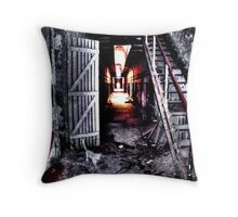 Disused Hall in Abandoned Prison Throw Pillow