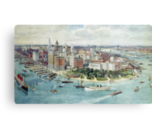 A Bird's Eye View of Lower Manhattan, 1911 (colour litho) Metal Print