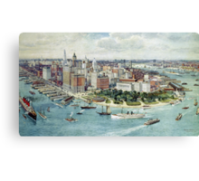 A Bird's Eye View of Lower Manhattan, 1911 (colour litho) Canvas Print