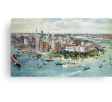 A Bird's Eye View of Lower Manhattan, 1911 (colour litho) Canvas Print