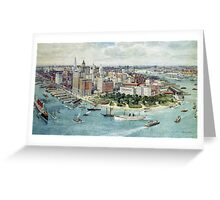A Bird's Eye View of Lower Manhattan, 1911 (colour litho) Greeting Card
