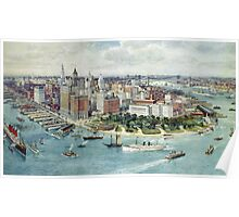 A Bird's Eye View of Lower Manhattan, 1911 (colour litho) Poster