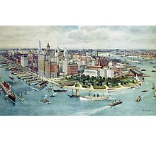 A Bird's Eye View of Lower Manhattan, 1911 (colour litho) Photographic Print