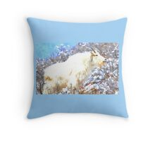 Mountain Goats In the Alpine Wyoming Mountain - Rocky Mountain Goat Throw Pillow
