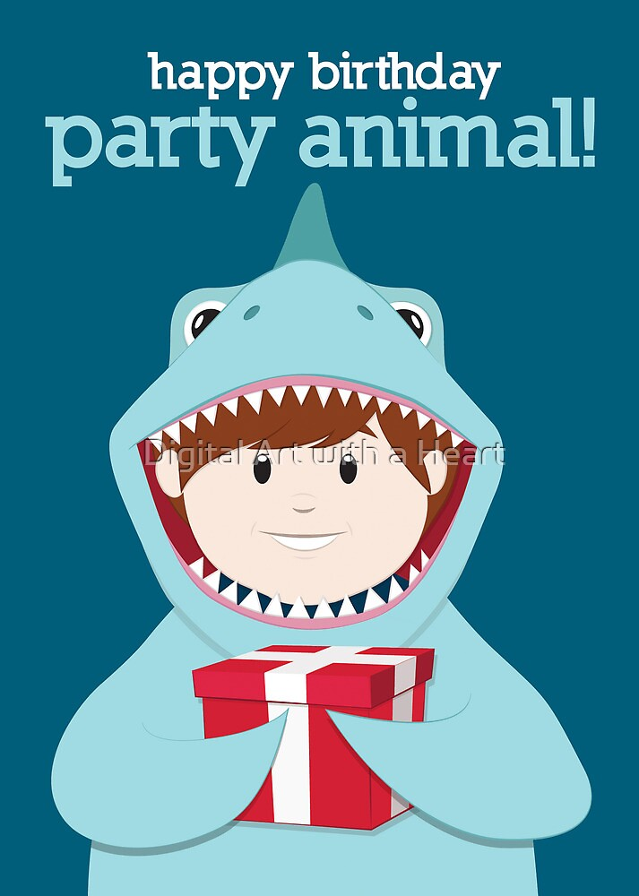 Party Animals Birthday Card (Shark) by Digital Art with a Heart