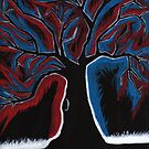 Red and Blue Tree painting by Fangpunk