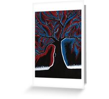 Red and Blue Tree painting Greeting Card