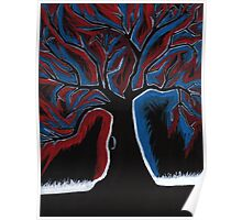 Red and Blue Tree painting Poster