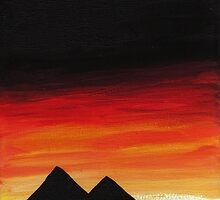 Egyptian Pyramids at Sunset by Fangpunk