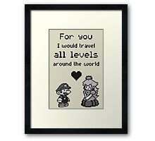 Pixel Mario and Peach Framed Print