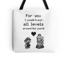 Pixel Mario and Peach Tote Bag
