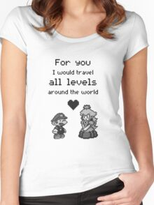 Pixel Mario and Peach Women's Fitted Scoop T-Shirt