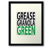 grease granola GREEN! Framed Print