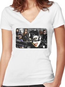 Catwoman Catwomen. Batman. DC Comics. Women's Fitted V-Neck T-Shirt