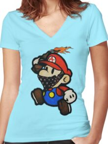 Anarchist Mario Women's Fitted V-Neck T-Shirt