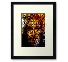 Savior - Stone Rock'd Jesus Art By Sharon Cummings Framed Print