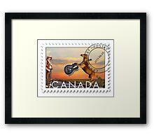 ☀ ツCOWBOY AND GIFTED HORSE CANDIAN STYLE POSTAGE STAMP (CANDIAN STYLE EH LOL)☀ ツ Framed Print