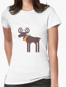 Christmas Moose Womens Fitted T-Shirt