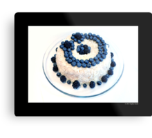 Cream Cheese Blueberry And Blackberry Bundt Cake With Recipe Metal Print