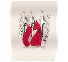 Fox in Shrub Poster