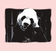 Cute Giant Panda Bear with tasty Bamboo Leaves Kids Tee
