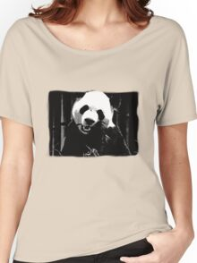 Cute Giant Panda Bear with tasty Bamboo Leaves Women's Relaxed Fit T-Shirt