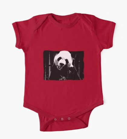 Cute Giant Panda Bear with tasty Bamboo Leaves One Piece - Short Sleeve