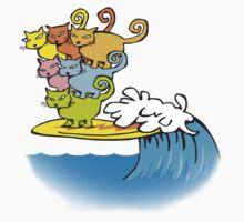 cat surfing Kids Tee