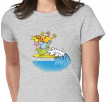 cat surfing Womens Fitted T-Shirt