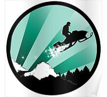 snowmobile : powder trail Poster