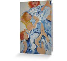 Children in blue Greeting Card