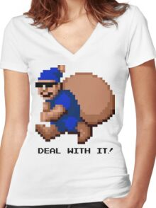 Deal With It! Blue Elf Women's Fitted V-Neck T-Shirt