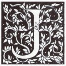William Morris Letter J Sticker by Donna Huntriss