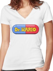 Dr. Wario Women's Fitted V-Neck T-Shirt