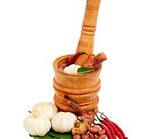 Wood Mortar with spice and vegetables by PutroGraph