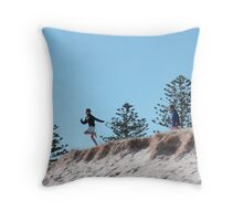 'JUST WATCH ME!' Winter fun, 'Fort Glanville,' Adelaide beach, Sth.Aust. Throw Pillow