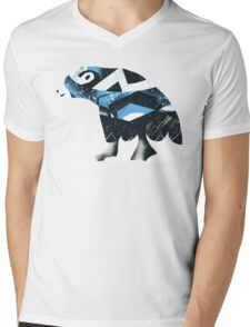 Winter Bear Mens V-Neck T-Shirt
